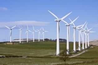 Wind turbines in windfarm image