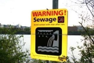 sewage warning sign image