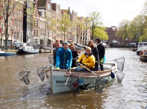 The Interface boat, made from plastic waste, is being used daily to scoop litter out of the canals of Amsterdam