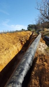 A Ø630mm HDPE bulk water pipeline replacement at Courtai