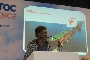 Lwandile Mabuza, Senior Operations Manager for Transnet National Ports Authority's (TNPA) Port of Durban's Point and Leisure Precinct, addressing the Tech TOC session at the African Terminal Operators' Conference (TOC Africa) in Durban on Tuesday, 5 December 2017.