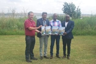 Dr. Wynand Malherbe (University of North West), Dhesigen Naidoo (CEO: Water Research Commission), Councillor Mike Mkhari (MMC: Environment and Agriculture) and Mr. Edward Netshithothole (Department of Environmental Affairs)