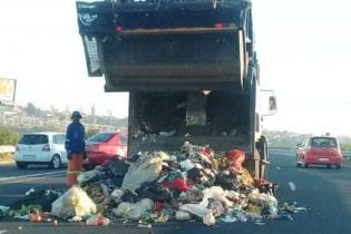 Angry contractors dumped rubbish on the N2 near Isipingo on Monday over non-payment from the eThekwini Municipality for their services. Picture: Supplied