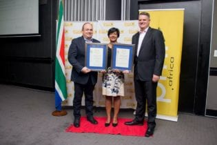 Averda South Africa walked away with four category wins at the recent PMR business excellence awards. At the awards ceremony as from left: Averda Managing Director Johan van den Berg, Sustainability Head Brindha Roberts and Operations Director Hein van Waveren. Picture: Supplied