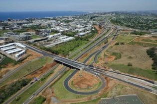 The Cornubia Bridge that crosses the N2 highway linking uMhlanga Ridge Boulevard to Cornubia.