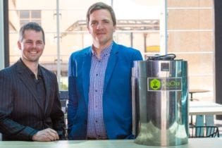 South Australian entrepreneurs Lewis Dunnigan and Benjamin Morton have invented a compost device that will turn organic waste into fertilizer within a matter of hours.