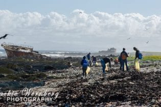 A beach cleanup in progress at Robben Island as part of the 2018 International Coastal Clean-Up Day