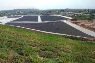 Sanitary landfill cells at Monrovia Landfill